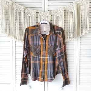 FREE PEOPLE Wesley Plaid Button Down Long Sleeve